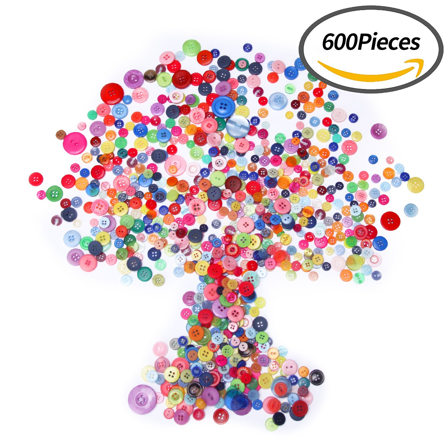Senkary 600 Pieces Craft Buttons Decorative Sewing Buttons Assorted Buttons Resin Round Buttons Bulk 4 Holes and 2 Holes, Assorted Colors and Sizes (Multicolored)