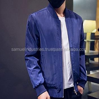 Collar Varsity Hombres Stand Plain Chaqueta Azul Solid Satén ZqwE0fn