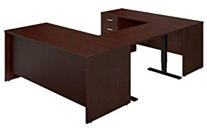 "Bush Sit Stand U Shaped Desk Features 72""W X 24""D Credenza 48""W X 24""D Height Adjustable Standing Bridge & 72""W X 30"" DeskW/ 3 Drawer Pedestal - Mocha Cherry"