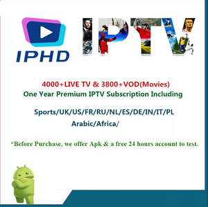 IPTV Subscription 3700+ Live/3500+ VOD Free 1 Year Full Europe Arabic India  Pakistan Brasil USA Africa Asia