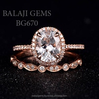 Manufacturer of White Topaz Gemstone Ring With Rose Gold Plated 925 Sterling Silver