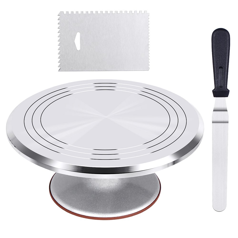 Kootek Aluminium Alloy Revolving Cake Stand 12 Inch Cake Turntable with 12.7'' Angled Icing Spatula, 3 Comb Icing Smoother, Silicon Spatula and Cake Server/Cutter Baking Cake Decorating Supplies