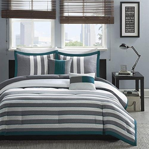 OSD 5pc Boys White Dark Teal Green Stripes Comforter Full Queen Set, Horizontal Grey Striped Bedding Rugby Stripe Gray Pattern Nautical Themed Modern Stylish Lightweight, Polyester