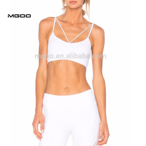 MGOO Wholesale Womens Organic Yoga Sport bra Yoga Wear Gym Wear White Sport Seamless Bra