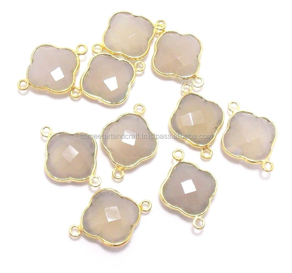 Beautiful Grey Chalcedony 24 k Gold Plated 12 x 12 mm Clover Bezel Connector