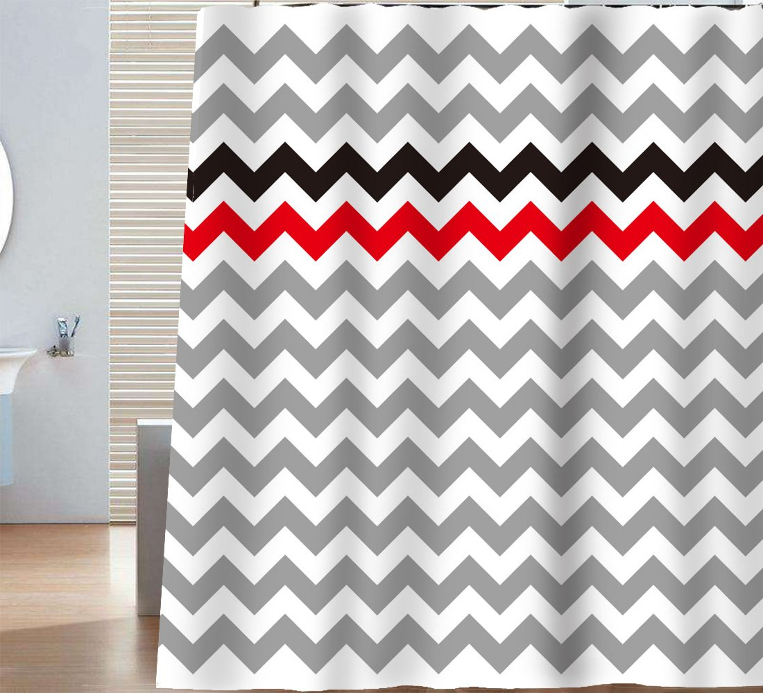 Get Quotations Sunlit Zigzag Red Orange And Black Stylish Grey White Chevron Fabric Shower Curtain Geometric Zig
