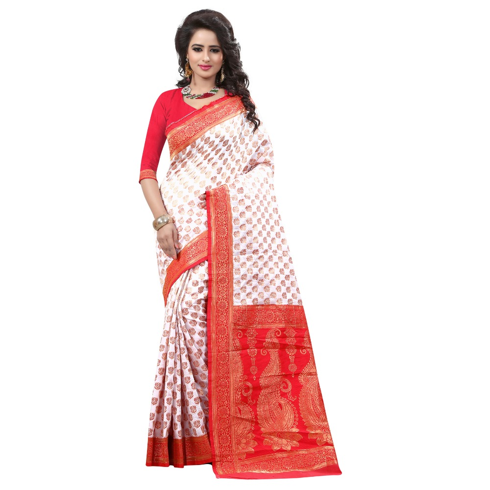 Bridal Wear White & Red Banarasi Art Silk woven work saree