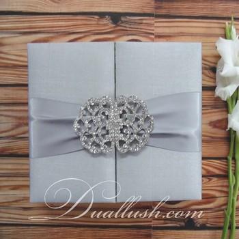 Wedding Candy Box Invitation Silk Silver Gate Fold Wholesale Couture Invitations