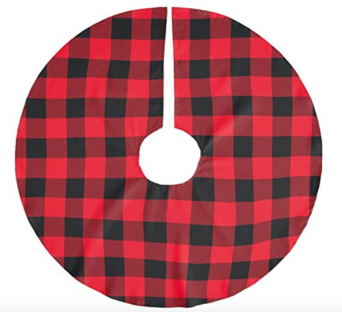 get quotations red and black buffalo plaid christmas tree skirt 50 inch handmade in the usa
