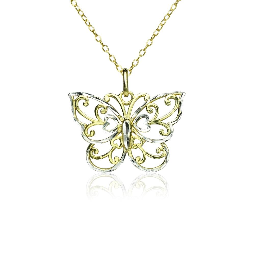 Women Sterling Silver Diamond Cut Butterfly Pendant