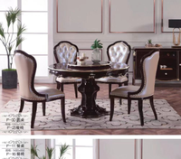 round type luxury wholesale price big table 6 seater chairs set cheap black wooden carving dining table set