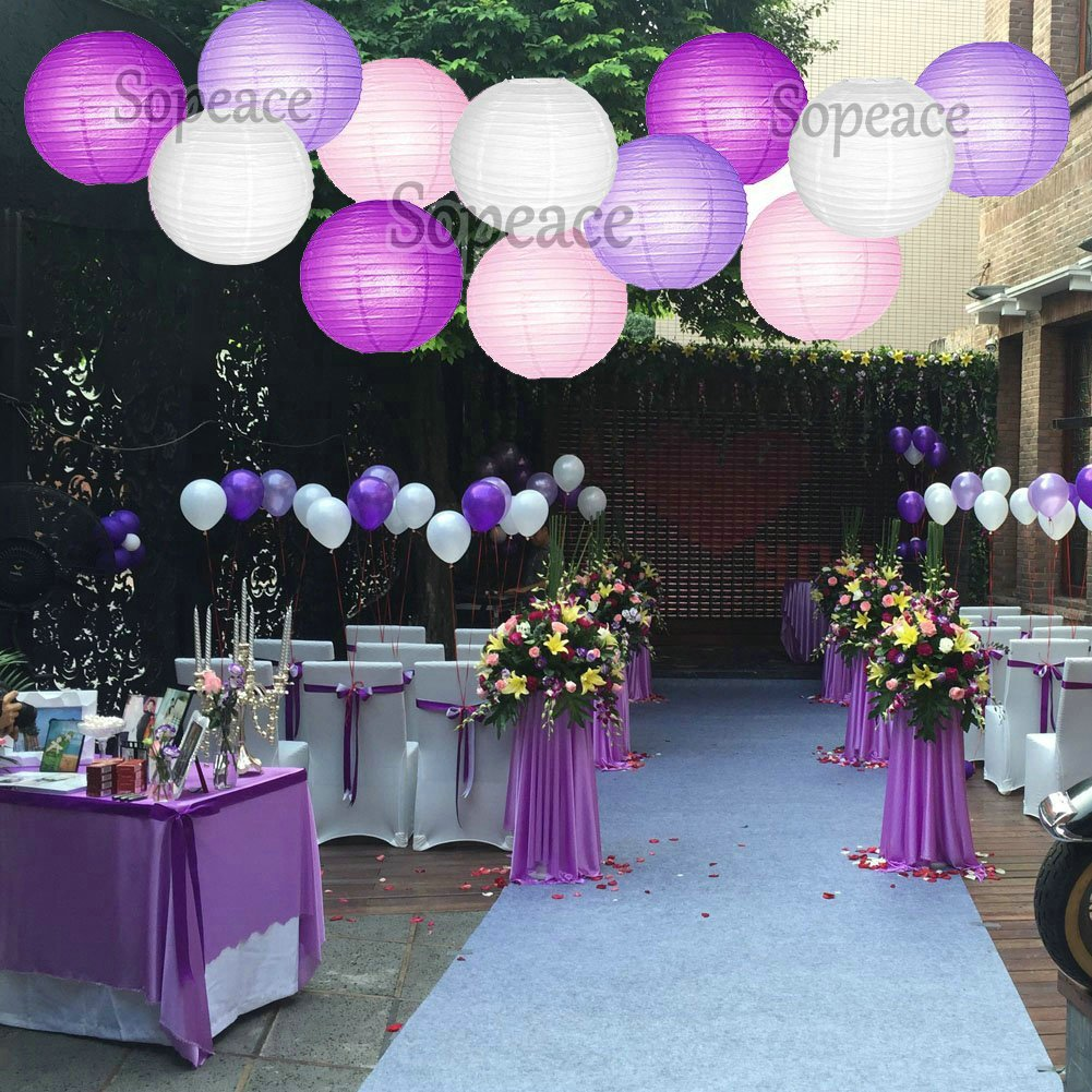 Get Quotations Sopeace Mermaid Under The Sea Decorations Purple White Pink Baby Shower Paper Lanterns Lamp Shades With