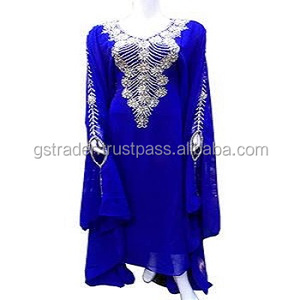 stones design georgette party dress Abaya/royal blue kaftan dress Abaya| Elegant Design uae kaftan/Modern Abaya