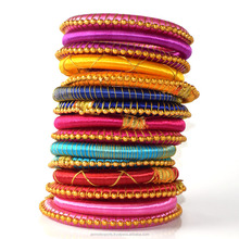 Multicolor Hot trendy Wrapped Silk Thread Bangles and Bracelets For Girls & Woman