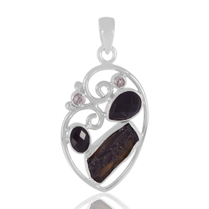 Handmade Silver Jewelry Genuine Raw Tektite Pendant, Black Onyx , Crystal and Tektite Gemstone 925 Silver Pendant