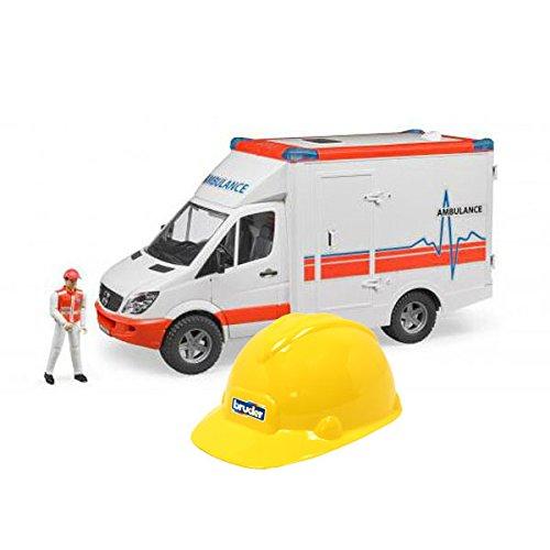 1/16 Bruder Mercedes Ambulance with Driver and Bruder Hard Hat