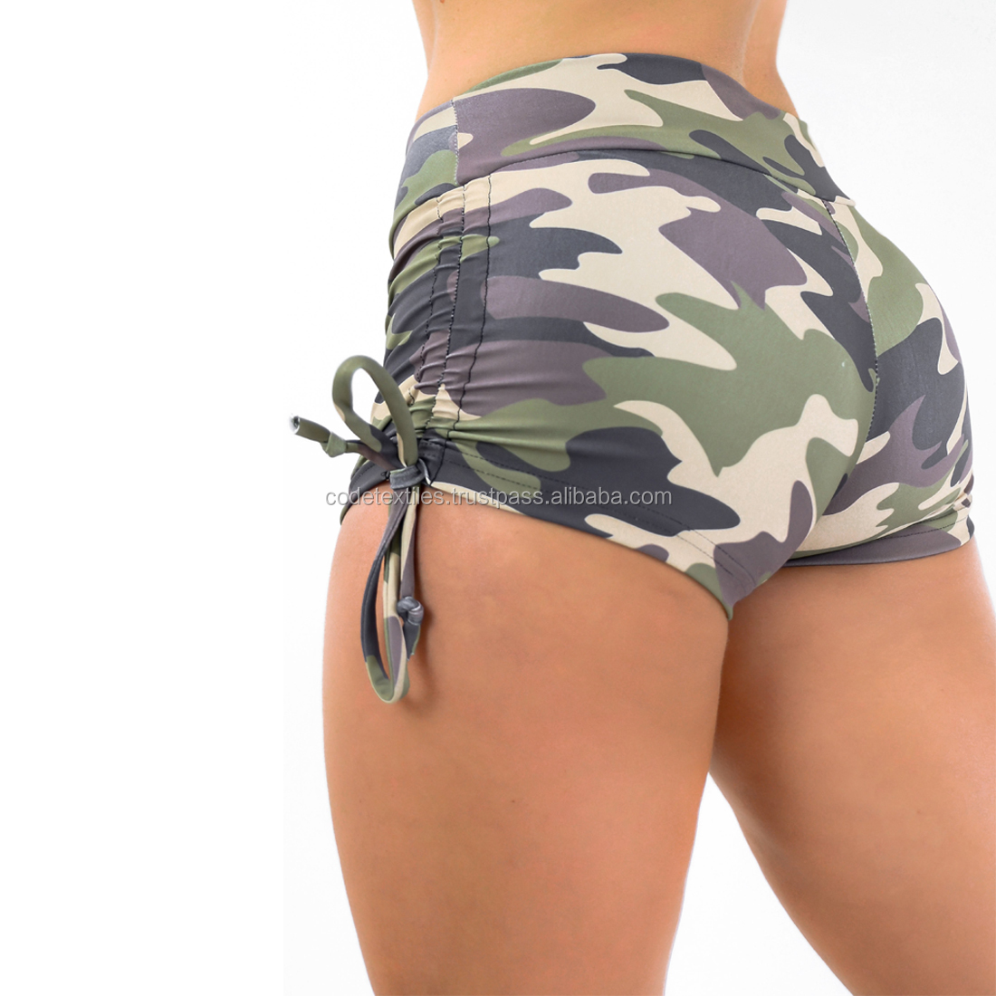 7134a4bcbb703 Booty Short Green Camo above the knee hot girls athletic shorts women sexy  transparent women shorts