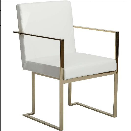 Caprice Black Vinyl leather Gold base Dining Chair