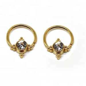 Nose ring with clear gem in the center body jewelry gold piercing