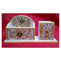 Marble Gold Painted Handmade Decorative Card Holder With Pen Stand