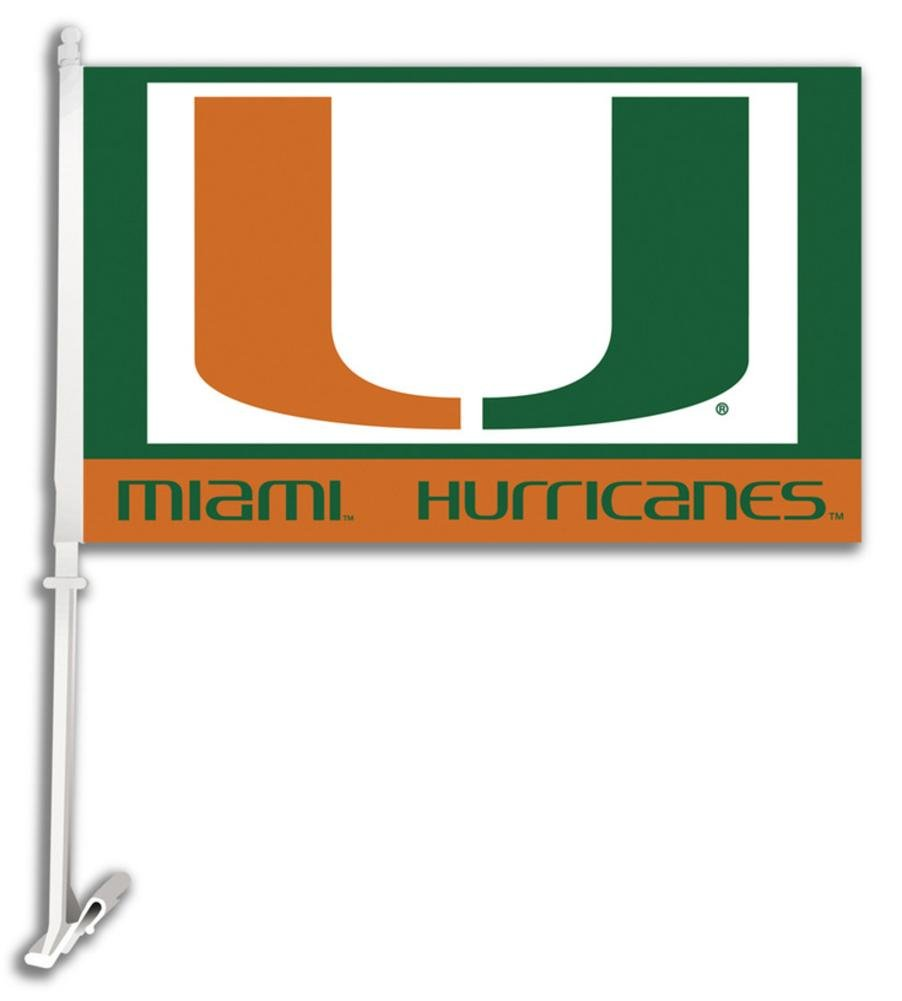 NCAA Miami Hurricanes Car Flag with Wall Bracket 18 x 11in