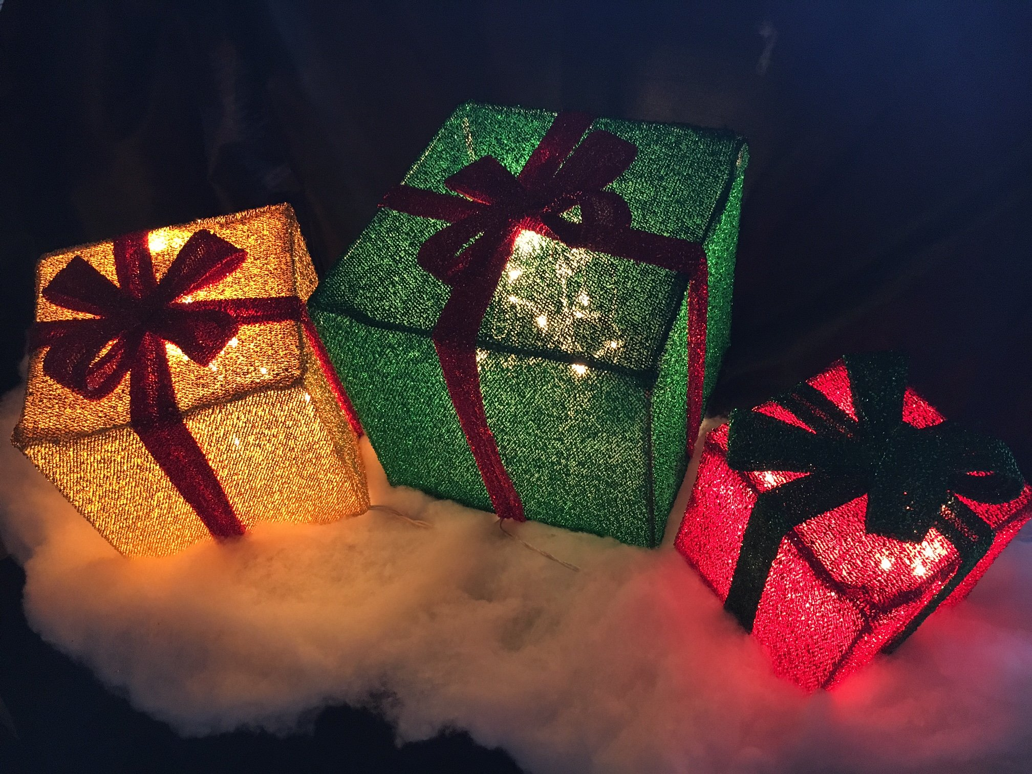 Get Quotations 3pc Lighted Tinsel Christmas Gift Bo Presents Outdoor Decor