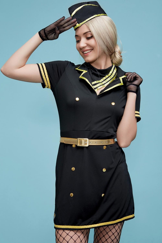 Costume Completo Hostess Aerei Airline  Cosplay Nero Calze Rete Flight Attendant