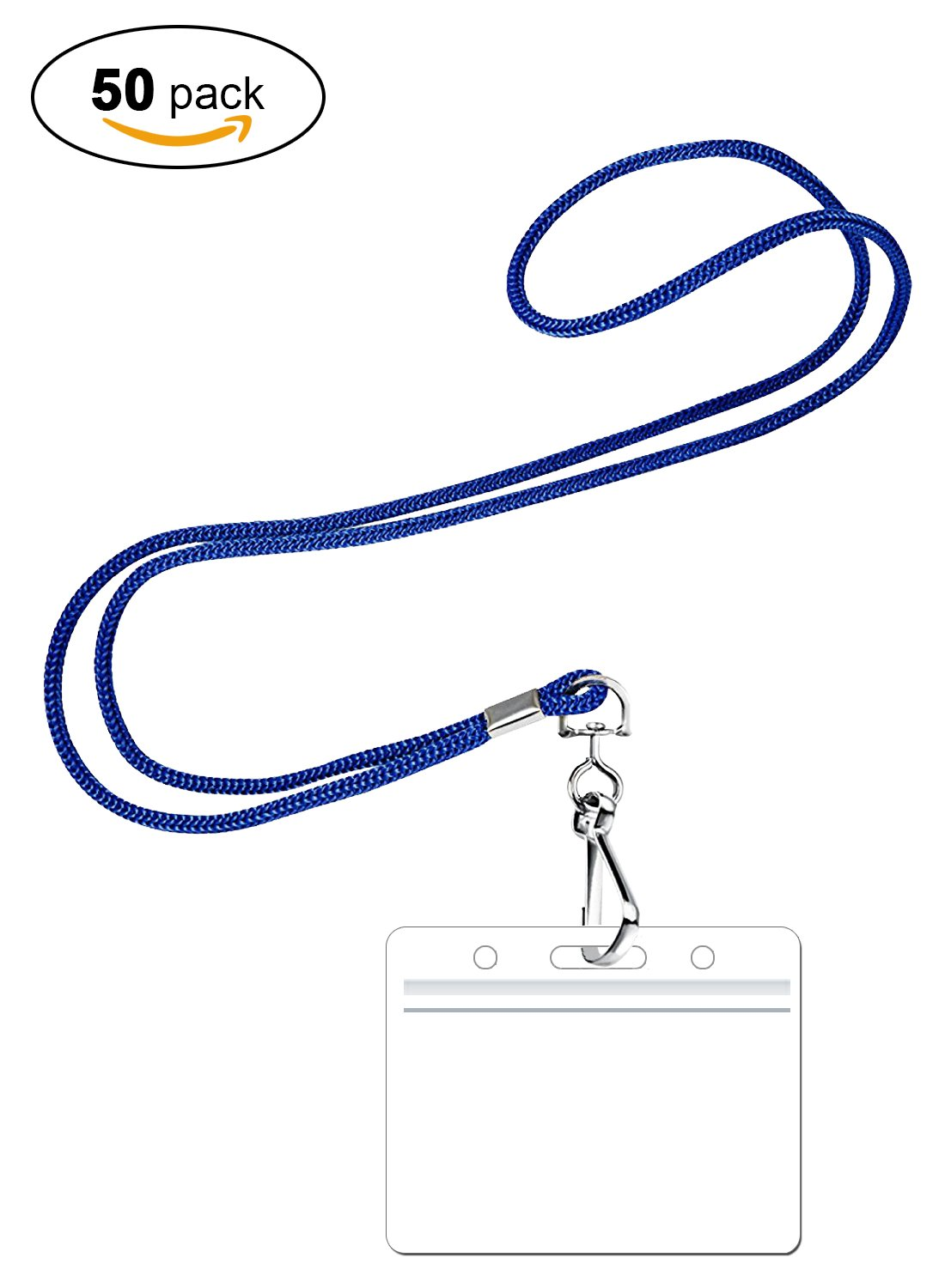 PROMOKING Woven Lanyard with Horizontal ID Badge Holder and Swivel Hook Available in 3 Colors | Red, Royal Blue, Black (50pk, Royal Blue)