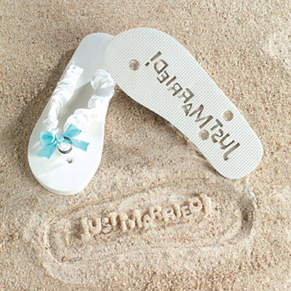 6fcb98d64 Get Quotations · JUST MARRIED Imprint Flip Flops 7 8 Bridal Shower Gift  Beach Wedding Bride White Fun