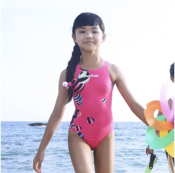 9ac1512ac4 Children Competition Swimming Suit Girls Lovely Pink Swimwear For Kids