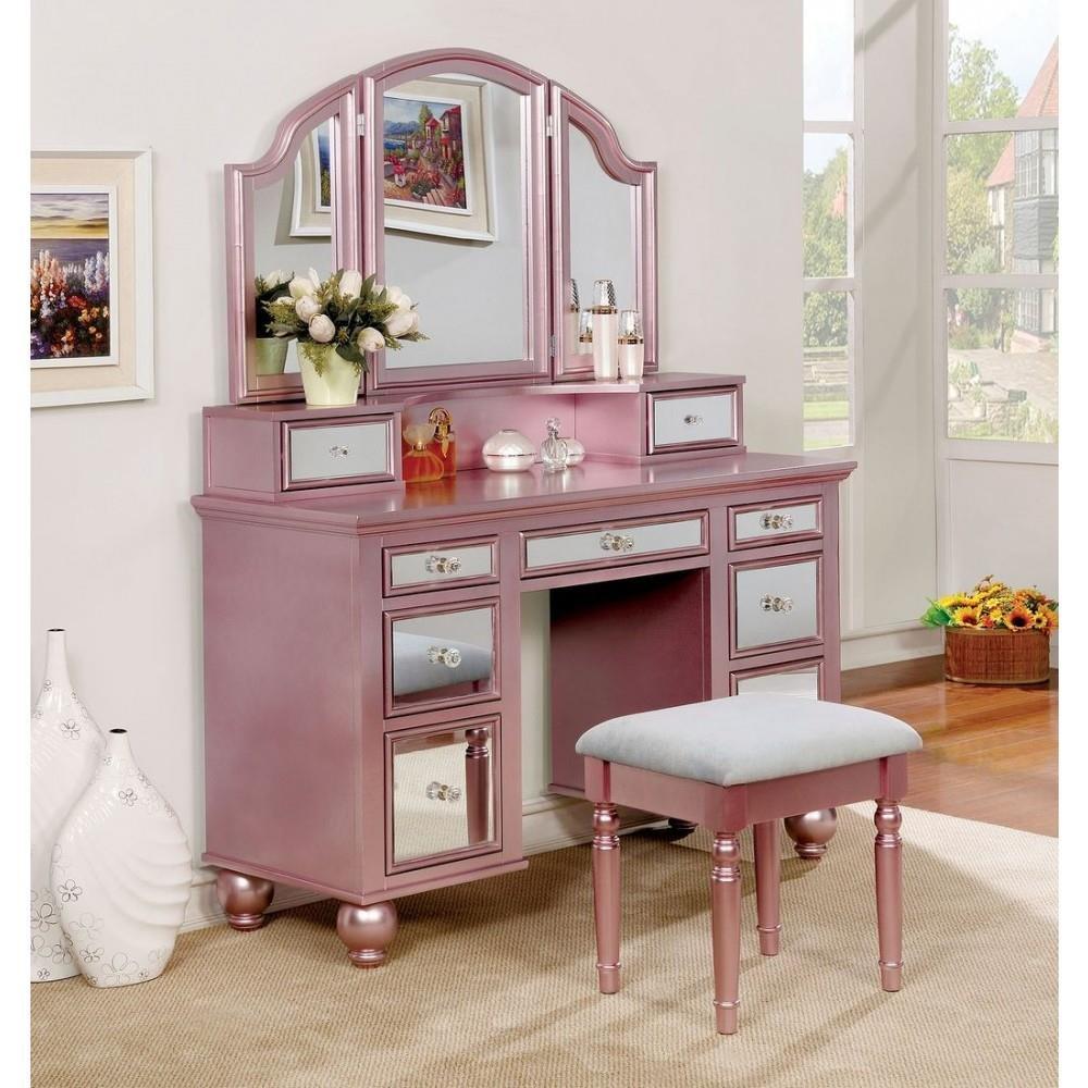 Howley Girls Bedroom 3 Piece Set Vanity Desk, Tri-Fold Mirror, Stool in Pink Wood