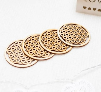 Laser Tiny Small Flower Cut Coasters | small roller coaster | Round Mdf Wood Engraved Coasters