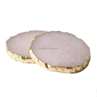 Rose Quartz Coasters With Gold Trim : Rose Quartz Coasters With Gold Edge : Agate Coaster : Decoration Table Pad & Mads