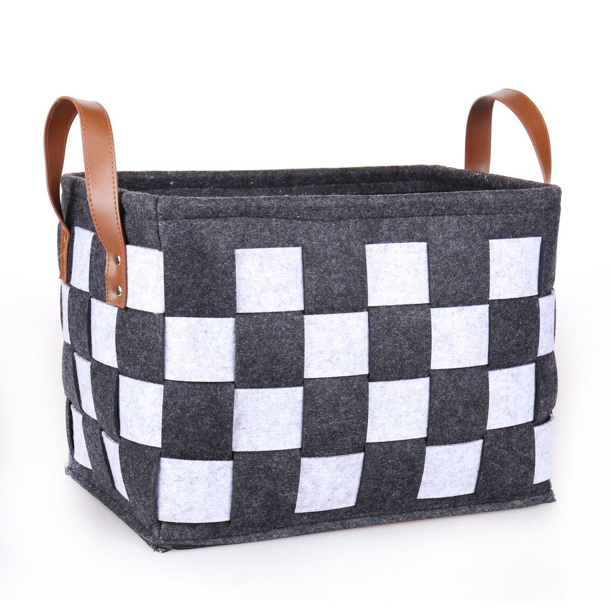 Get Quotations · TheWarmHome Felt Storage Bin Decorative Storage Basket For  Shelves Clothes Basket Toy Bin Rectangle Organizer Bins