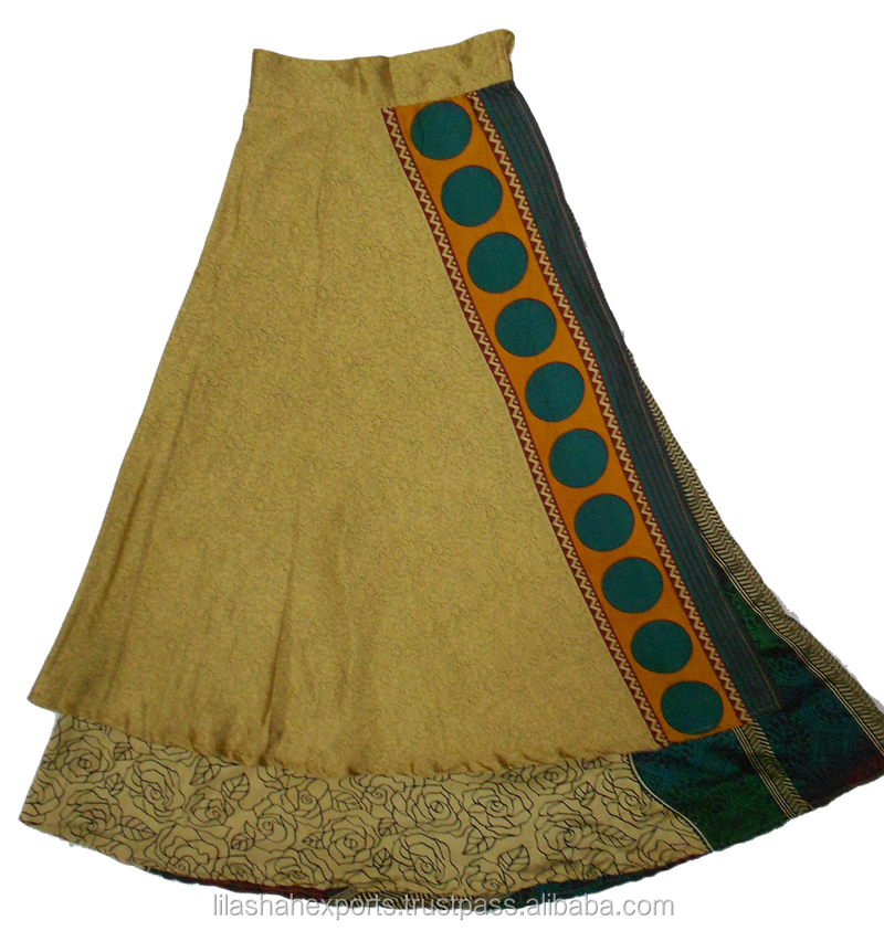 Indian Skirt Printed Long Wrap Silk Women's India Clothing