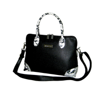 Elegant Snake Embossing Trim Handbag with Strap