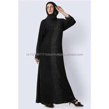 Muslim Women Clothing Nida Fabric, Lace, Stonework Abaya