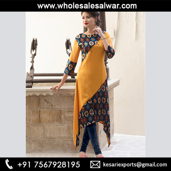 2e984a01c5e Mustard Rayon Casual Wear Printed Work Kurti - Designer Casual Wear Printed  Long Kurtis Wholesale Collection