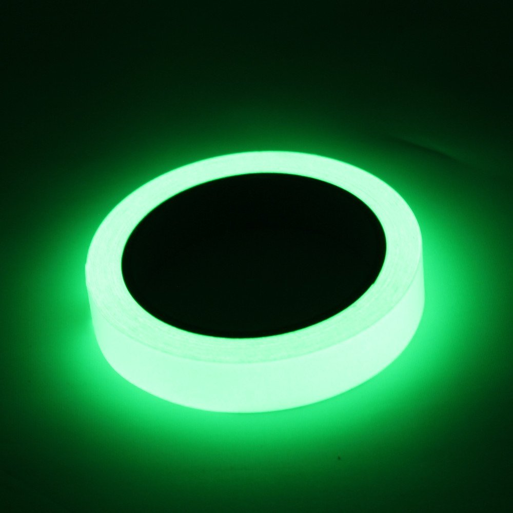 Luminous Tape Glow in The Dark 16 ft x 0.8 inch Removable Photoluminescent Green Light Glow Tape for Theatre Stage,Party,Safety Egress exit Marker with Bonus 27 pcs Glow dots,Stars,Arrow Sticker