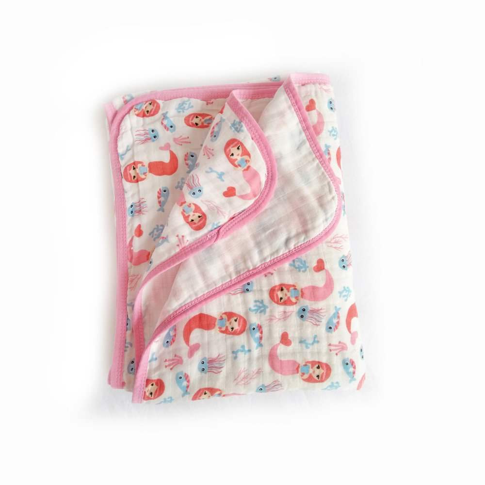 "Baby 2-Layer Muslin Swaddle Blanket, 39""x59"" 100% Cotton Soft Unisex for Boys or Girls Nursing Receiving Swaddle Wrap Burp Cloth Stroller Cover Bath Towel (Mermaid)"