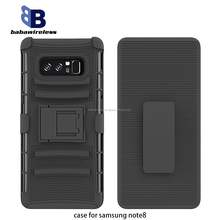 factory wholesale durable 3 in 1 TPU+PC combo cell phone case for samsung note8 holster