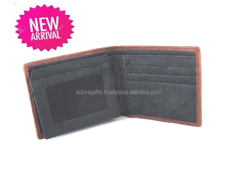 High quality Design Business Man Ostrich Leather Wallet Manufacturer