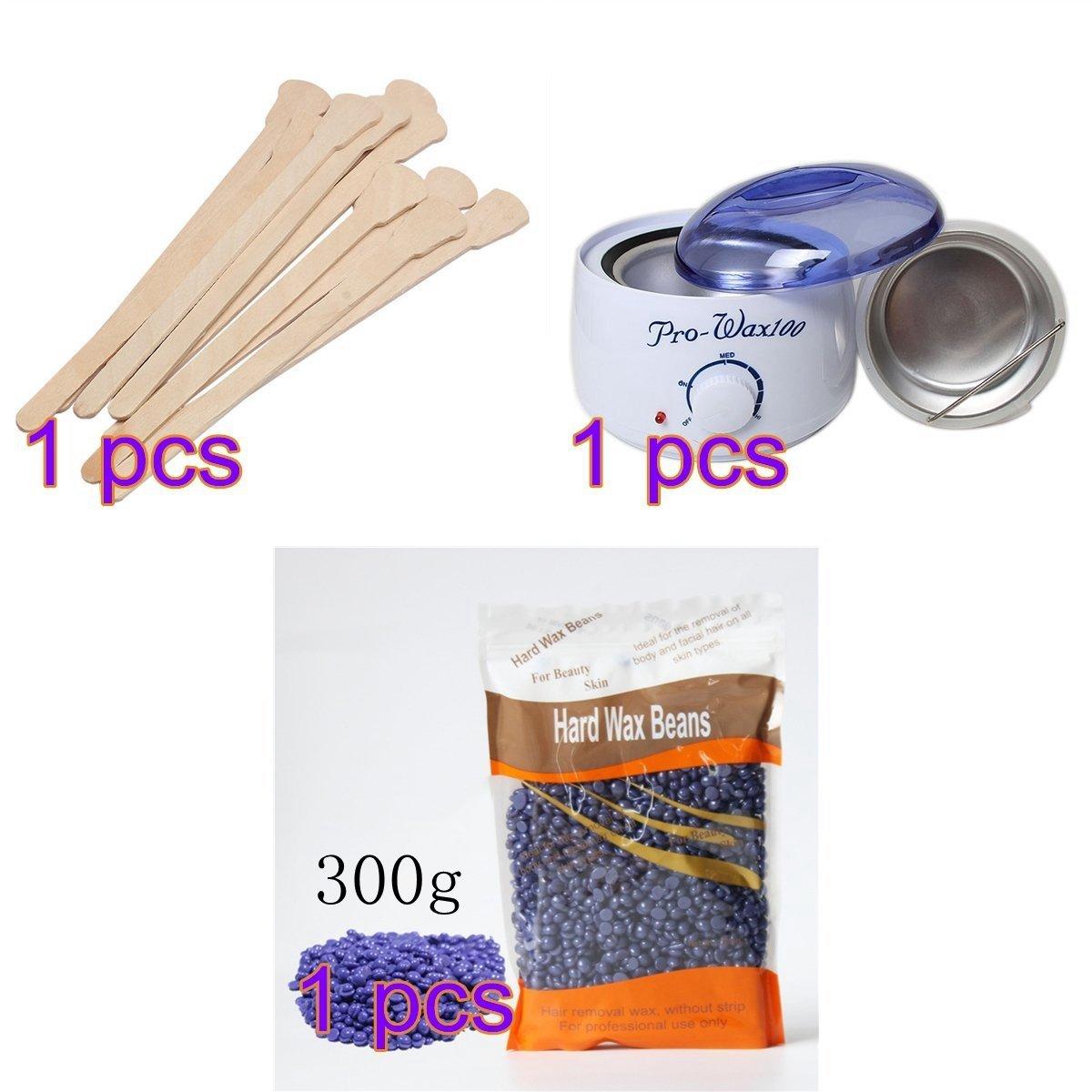ASDOMO 500CC Portable Electric Hair Removal Wax Warmer+10.58 OZ Hair Removal Hard Wax Beans+10PCS Wax Applicator Sticks
