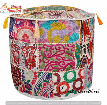 Indian Handmade Pouf Cover Beige Patchwork Pouf Home Decor Cotton Simple Indian Pouf Covers