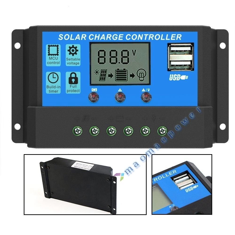 Solar Charge Controller 10A/20A/30A 12V 24V Auto Switch LCD Display Intelligent Solar Panel Battery Regulator With Two USB Port for Solar PV Power System Safe Overload Protection (10A)