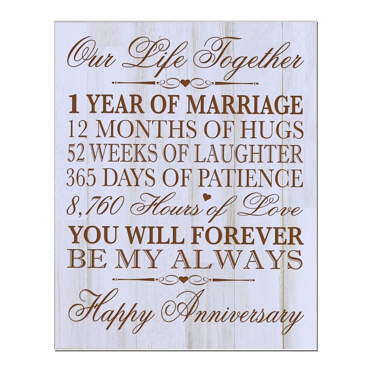 "LifeSong Milestones 1st Wedding Anniversary Wall Plaque Gifts for Couple, 1st for Her,1st Wedding for Him 12"" W X 15"" H Wall Plaque By (Distressed Wood)"