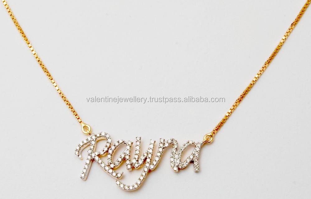 Gold Chain Customizable Name Pendant Designs - Buy Gold Pendant ...