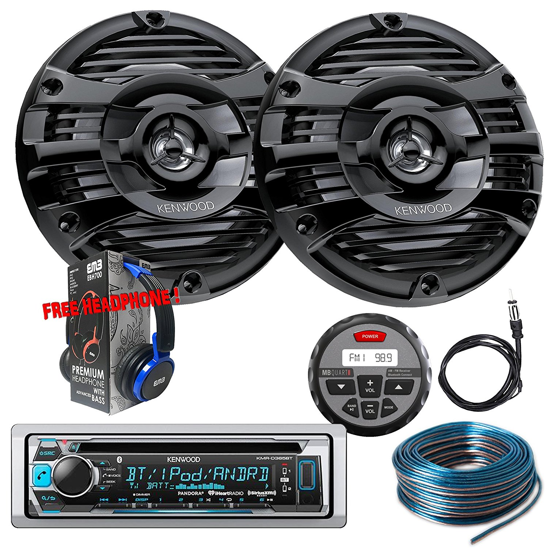 Package Kenwwod KMR-D365BT Bluetooth Marine CD Receiver + 1 Pair KFC-1653MRB Marine Stereo Speaker + GMR-1 + Antenna + 100FT Installation Wire + Free EMB Headphone For ATV UTV Boat Yatch