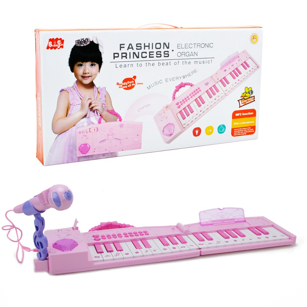 WISHTIME Kids Karaoke Music Piano Toys Folded Multifunction 37 Keys Keyboard Piano Instrument for 3+ Girls with Real Working Microphone and Colorful Light MP3 Record Sing Pink Chritsmas Gift