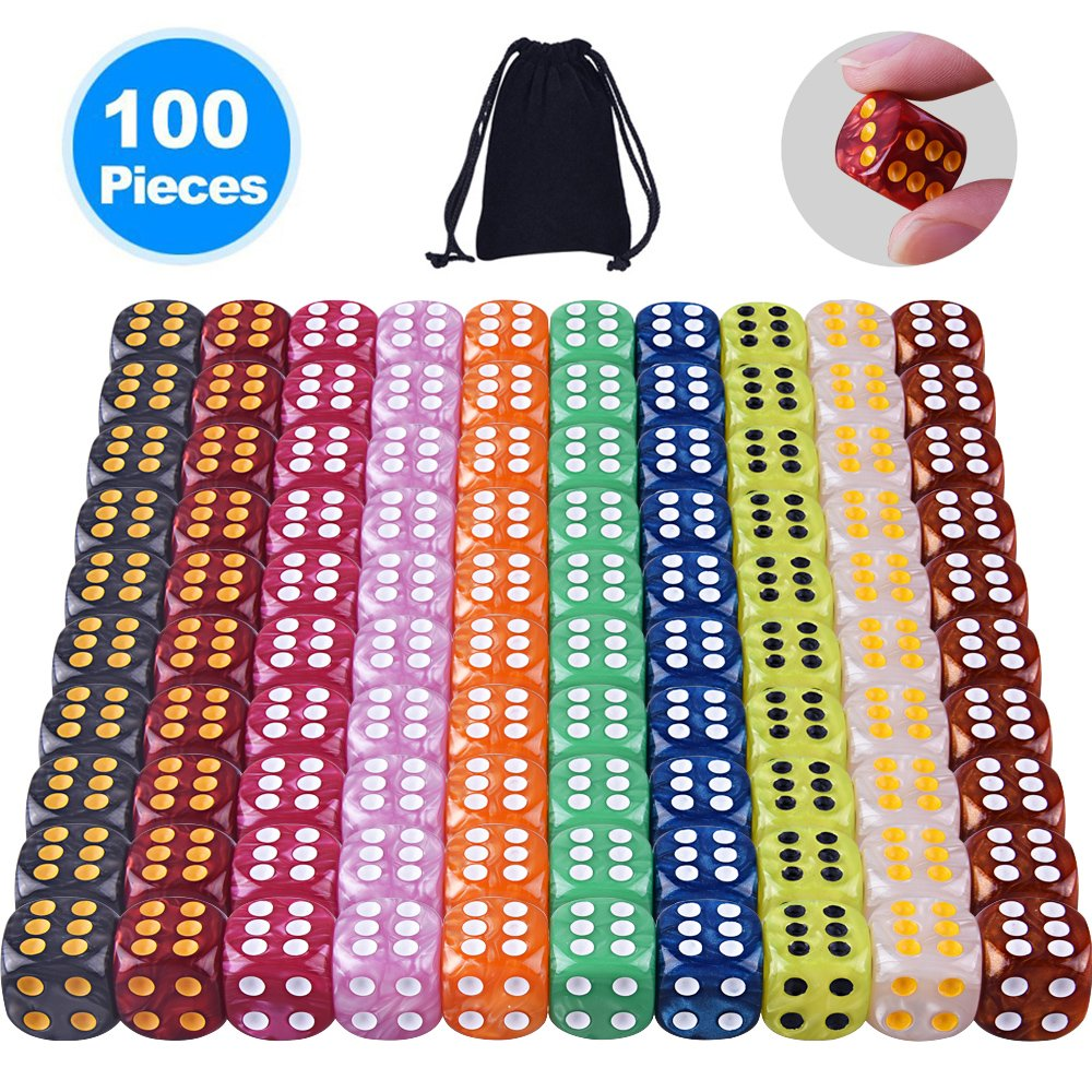 Austor 100 Pieces 6-Sided Game Dice Set (Free Pouch), 10 Pearl Colors Rounded Edges Dices for Tenzi, Farkle, Yahtzee, Bunco or Teaching Math
